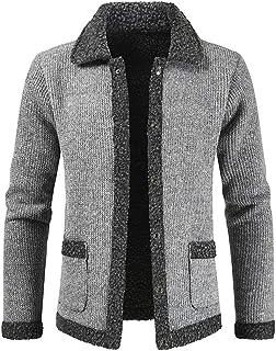 HJHK Men's Cardigan Long Sleeve Thick Warm Sweater with Full Zipper Stand-up Collar Fleece-Lined Winter Coat Cardigan Chun...