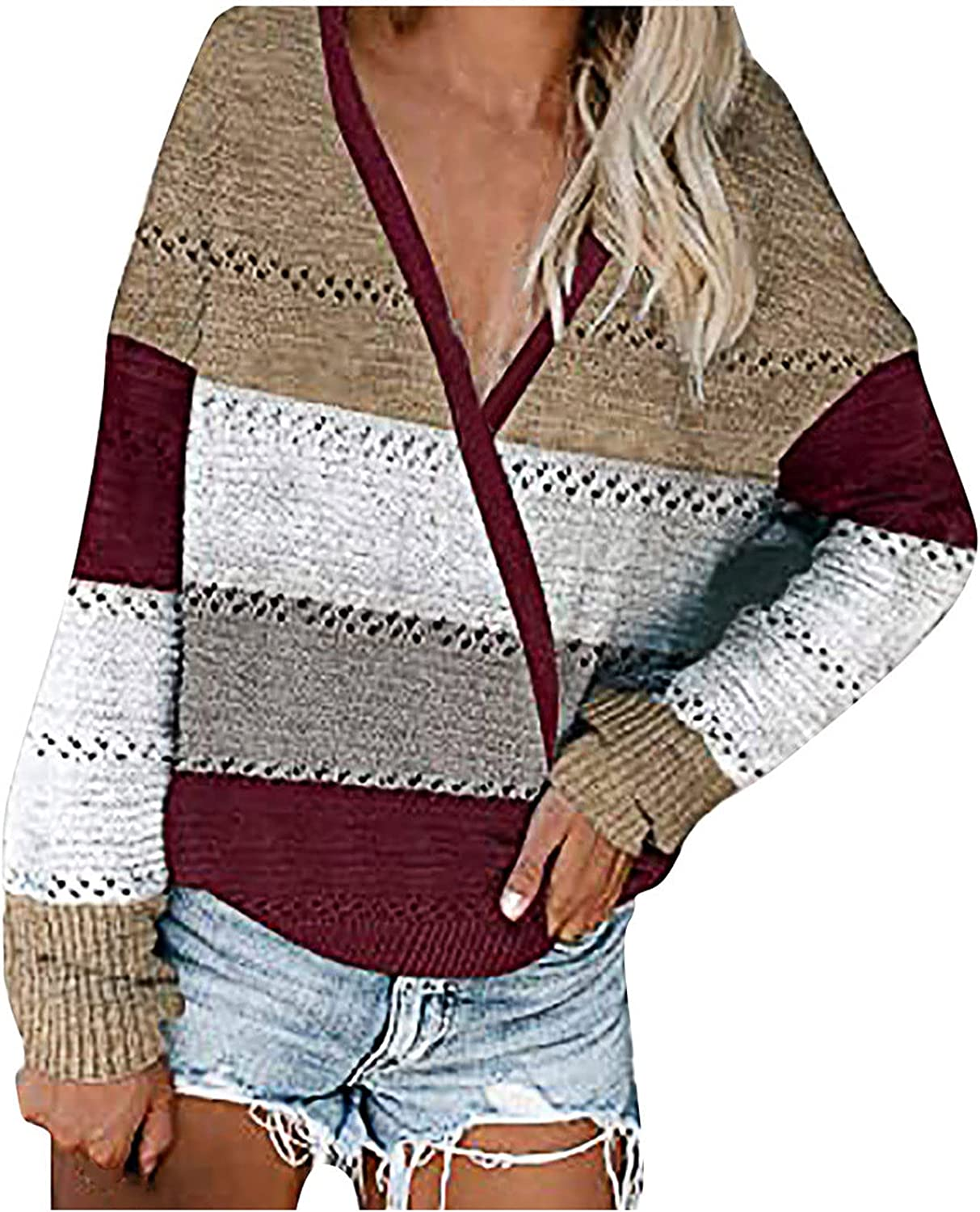 Womens Striped Color Block Sweater Fashion V Neck Long Sleeves Knit Pullovers Casual Patchwork Blouse Tops S-5XL