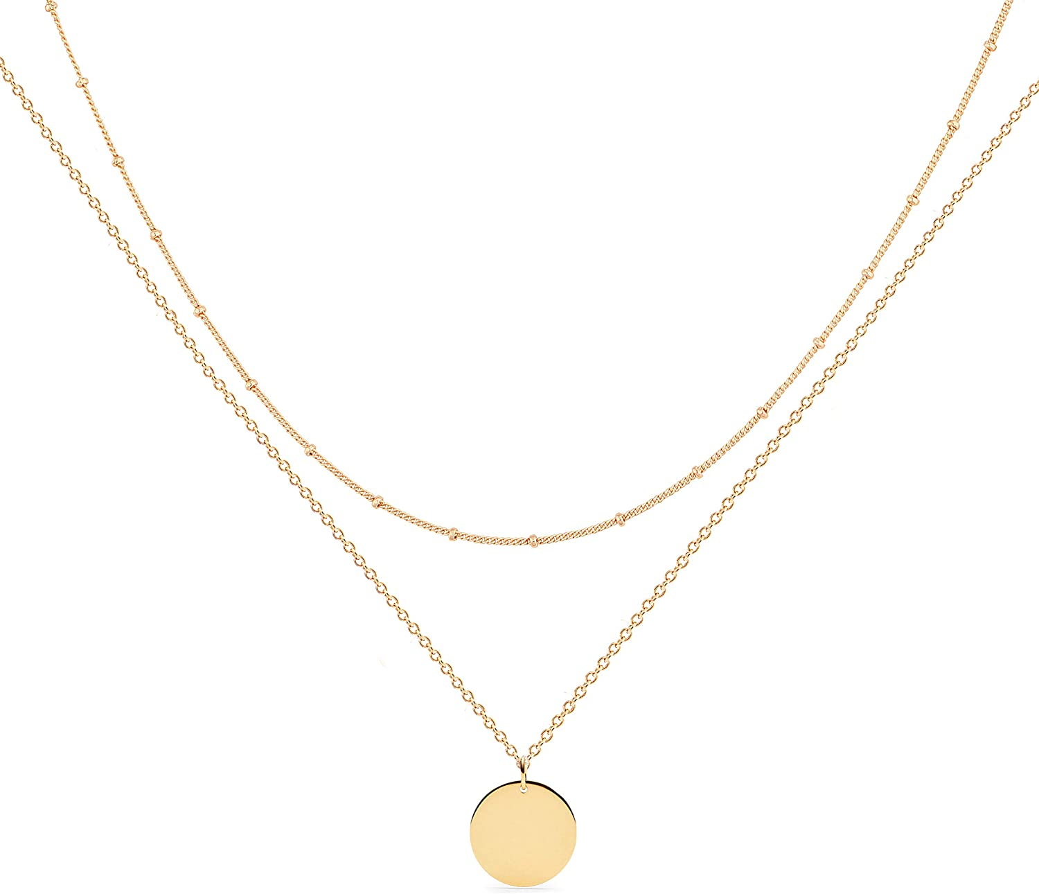 Mevecco Layered Heart Necklace Pendant Handmade 18k Gold Plated Dainty Gold Choker Arrow Bar Layering Long Necklace for Women