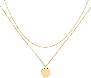 Layered Heart Necklace Pendant Handmade 18k Gold Plated...