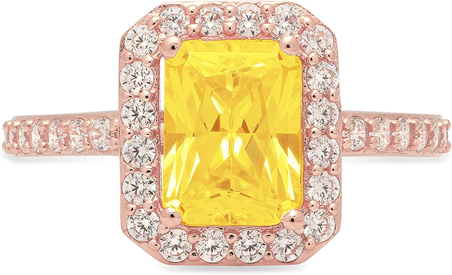 Clara Pucci 2.17 Brilliant Emerald Cut Solitaire Accent Halo Stunning Genuine Flawless Yellow Simulated Diamond Gem Designer Modern Ring Solid 18K Rose Gold
