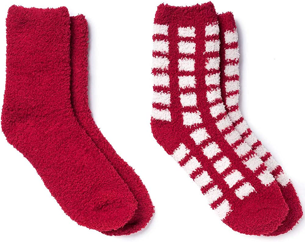HollyDel Christmas Socks and Scarves; Sock Red New products world's highest quality popular Fuzzy Now on sale Adult Plaid