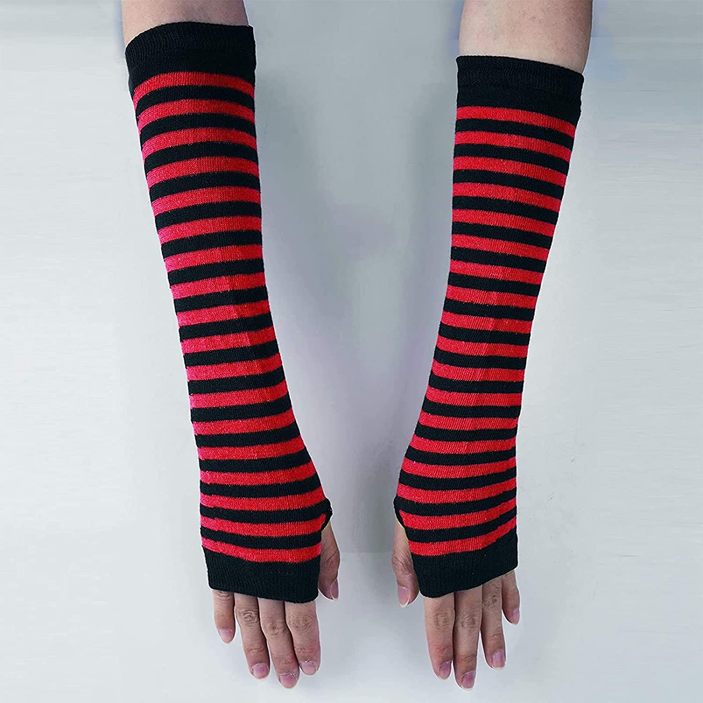 KKmeter Womens Girls 1 Pair Striped Knitted Fingerless Long Gloves Punk Gothic Rock Elbow Thumb Hole Gloves Mittens