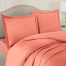 Nestl Bedding Duvet Cover 4 Piece Set - Ultra Soft Double Brushed Microfiber Hotel Collection - Comforter Cover with Button Closure, Deep Pocket Fitted Sheet, 2 Pillow Shams, Full - Misty Rose