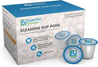Essential Values 10-Pack of Cleaning Cups for Keurig K-Cup Machines Including 2.0 Compatible, Safe & Effective/Non-Toxic - Proudly Made in USA