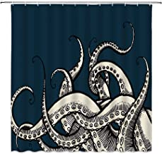 MNSC Octopus Tentacles Shower Curtain Ocean Animal Kraken Blue Background Underwater Life Creatures Hand Drawing Effect Vintage Fashion Decor Fabric Bathroom Curtain 71x71IN with Hooks,Blue