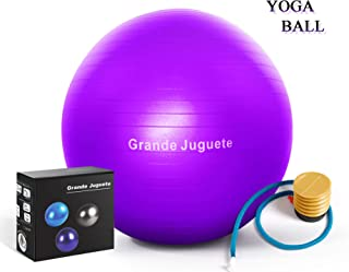 Grande Juguete Exercise Stability Yoga Ball(45, 65cm) Support 2000lbs with Quick Foot Pump-Extra Thick Professional Balance Ball Grade Anti Burst, No Slip for Fitness,  Office Chair, Birthing