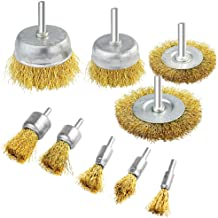 9 Packs Wire Drill Brush Sets, Fengek 9 Sizes Brass Coated Wire Brush for Rust Paint Corrosion Removal Polishing