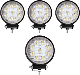TURBO SII 4Pack 4inch 27W Flood Round Pods Led Work Light Driving Fog Light Offroad Light For Tractor Off-Road Suv Boat 4X4 Jeep JK 4Wd Truck 12V-24V