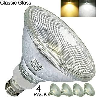 Glass Reflector LED PAR38 Bulb Flood Light 18W=70W-150W Halogen Equivalent,Indoor/Outdoor Use,PAR38 LED Warm White 2700K,Soft White Light LED 3000K,120V Non-Dimmable,E26 Base,Waterproof IP65