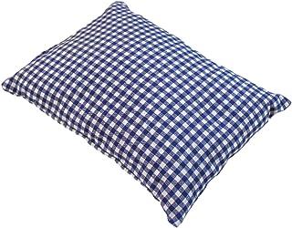 Enkel kudde blå rutig fylld med tallflingor gjorda av 100% Alperna Zirbenwood 30x20 cm (Karo)
