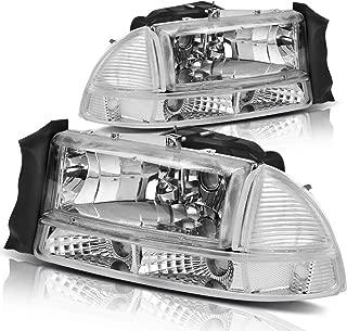 For 1997-2004 Dodge Dakota 1998-2003 Dodge Durango Headlight Assembly Headlamp Replacement with Park Signal Lamp Crystal Housing