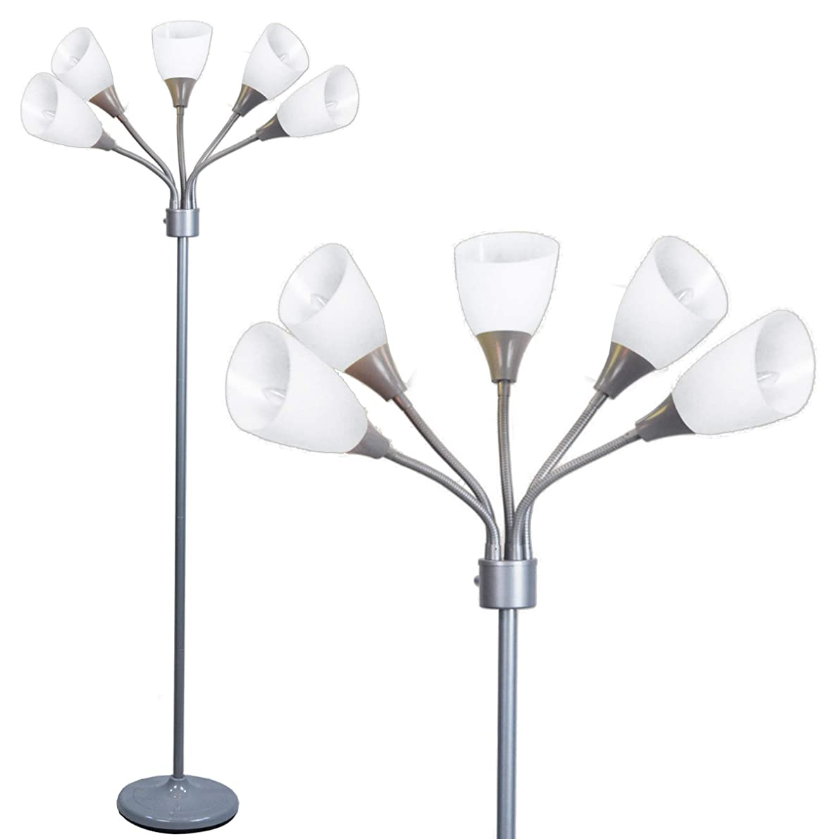 Floor Lamp by Light Accents - Medusa Grey Standing Lamp with White Acrylic Shades