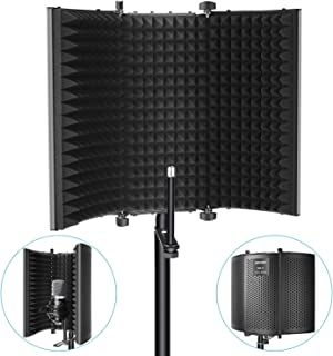 Neewer Professional Studio Recording Microphone Isolation Shield. High Density Absorbent Foam is Used to Filter Vocal. Compatible with Blue Yeti and Any Condenser Microphone Recording Equipment