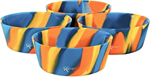 Silipint Silicone Bowl Set, Unbreakable, Flexible, Microwave-Safe, Dishwasher-Safe, Freezer-Safe Bowls for Indoor and Outdoor Use (4-Pack, Canyon Blues)