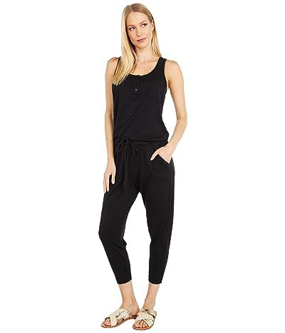 bobi Los Angeles Henley Jumpsuit in Supreme Jersey (Black) Women