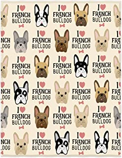 QH 58 x 80 Inch I Love French Bulldog Print Super Soft Throw Blanket for Bed Couch Sofa Lightweight Travelling Camping Throw Size for Kids Adults All Season