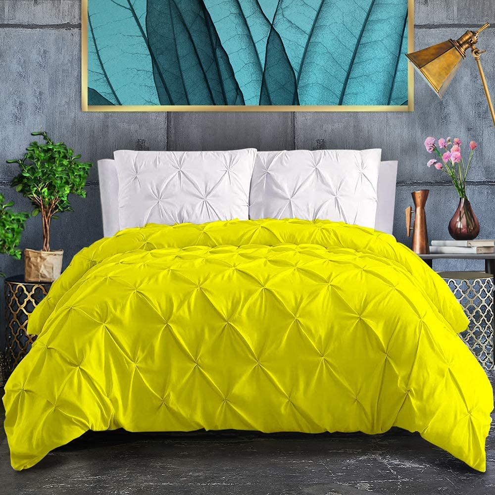 King Duvet Cover 5 Special sale item Pieces Bedding Cheap bargain Washed 100% Cotton Yello