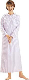 Striped Flannel Nightgown - Misses Long