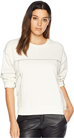 Drop Shoulder Pullover with Contrast Top Stitch