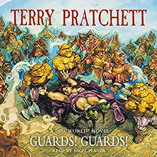 Guards! Guards!                   By:                                                                                                                                 Terry Pratchett                               Narrated by:                                                                                                                                 Nigel Planer                      Length: 10 hrs and 8 mins     2,571 ratings     Overall 4.8