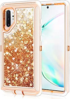 Caka Case for Galaxy Note 10 Plus Glitter Case Liquid Bling Luxury Fashion Flowing Floating Sparkle Shining Glitter Soft TPU Clear Cute Women Girls Case for Samsung Galaxy Note 10 Plus (Love Gold)