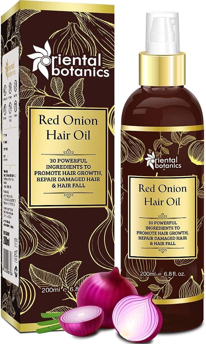 硫黄補正トロリーバスOriental Botanics Red Onion Hair Growth Oil, 200ml - With 30 Oils & Extracts For Complete Hair Repair (No Mineral OIl)