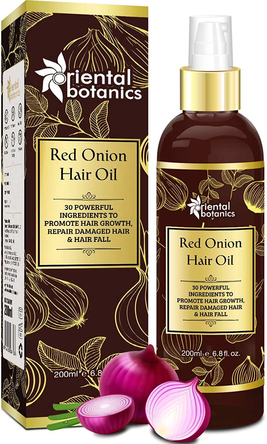 人間ゴシップOriental Botanics Red Onion Hair Growth Oil, 200ml - With 30 Oils & Extracts For Complete Hair Repair (No Mineral OIl)