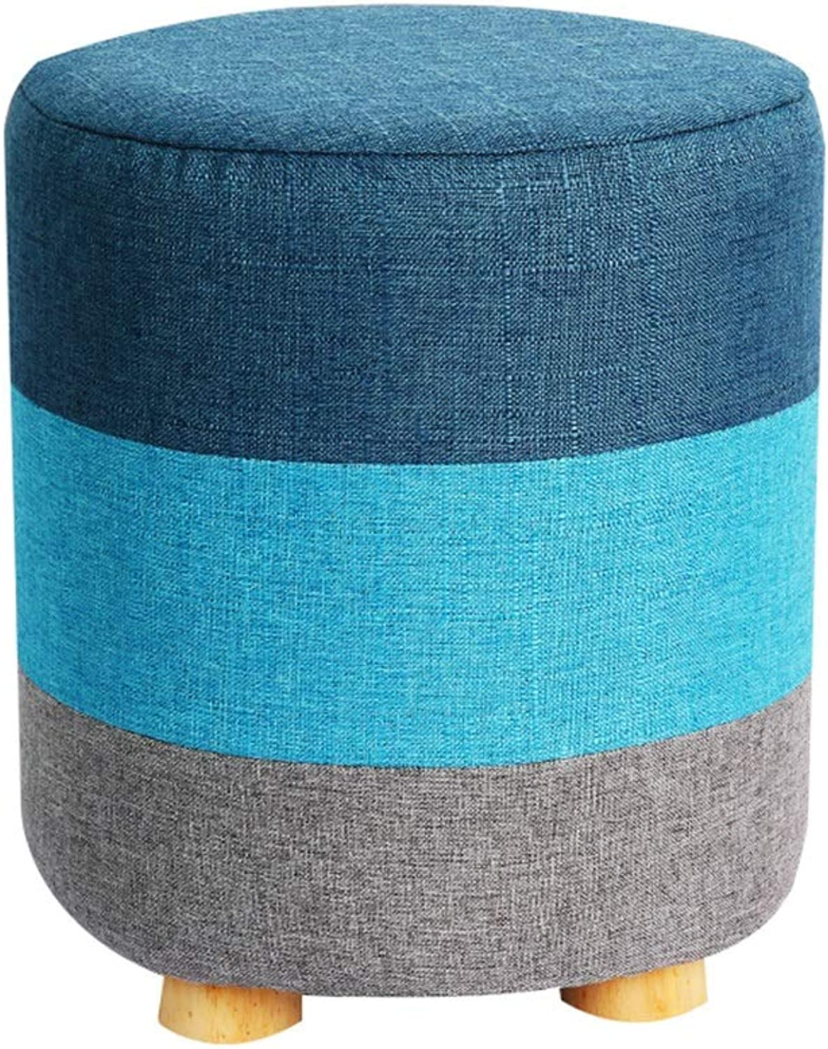 AGLZWY Sofa Stool Multipurpose Solid Wood Frame Cloth Removable and Washable Non-Slip Bearing Strong Round Stool Change shoes Bench, 5 colors, 29X28X32cm (color   bluee, Size   29X28X32cm)