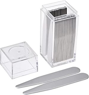 JOVIVI 36pc Stainless Steel Collar Stays in Clear Plastic Box For Mens Dress Shirt