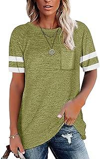 Womens Tunic T Shirts Short Sleeve Round Neck Soft Loose...