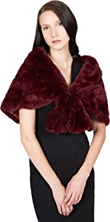 ™ Women's Real Rex Rabbit Fur Cape with Collar   Soft and Luxurious Genuine Fur Shawl Wrap Stole
