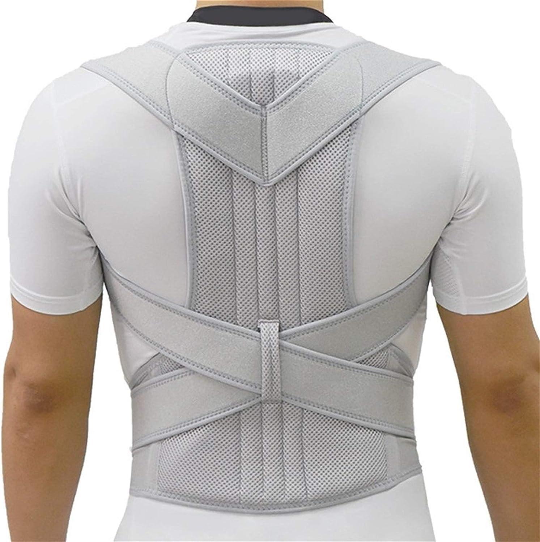 Corrector de postura plateado Escoliosis Soporte para la espalda Corsé para la columna vertebral Cinturón para el hombro Soporte para terapia Corrección de mala postura Cinturón para hombres (Color: