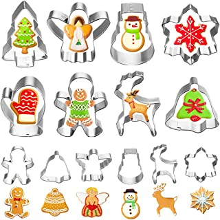 VHAUSE 14PCS Christmas Cookie Cutters Stainless Steel - 8 Large and 6 Small Parent-Child Biscuit Molds - Xmas Tree, Snowman, Gingerbread Men, Reindeer, Snowflake, Jingle bell, Angel and Glove