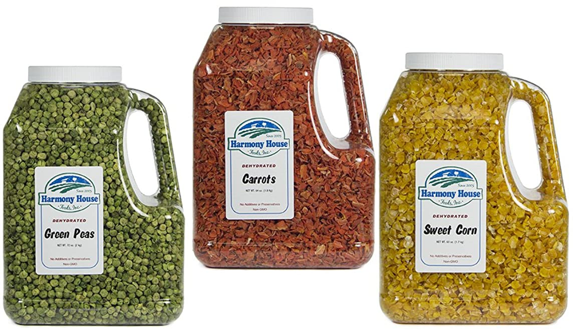 Harmony House Foods Dried Vegetable Family Pack, (16 Count, Gallon Size Jugs) for Cooking, Camping, Emergency Supply, and More -