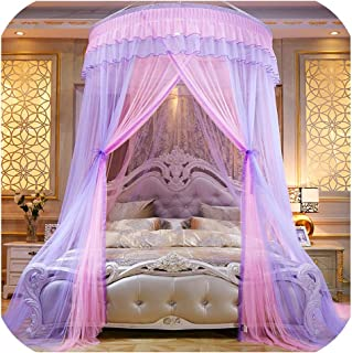 sunshine-xj Colorful Mosquito Net Princess Insect Net Single Door Hung Dome Bed Canopies Netting Round Mosquito Net Commonly Used,1