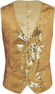 MSemis Men's Shiny Sequins Sleeveless Slim Fit Vest V-Neck Party Dressy Suit Stylish Waistcoat
