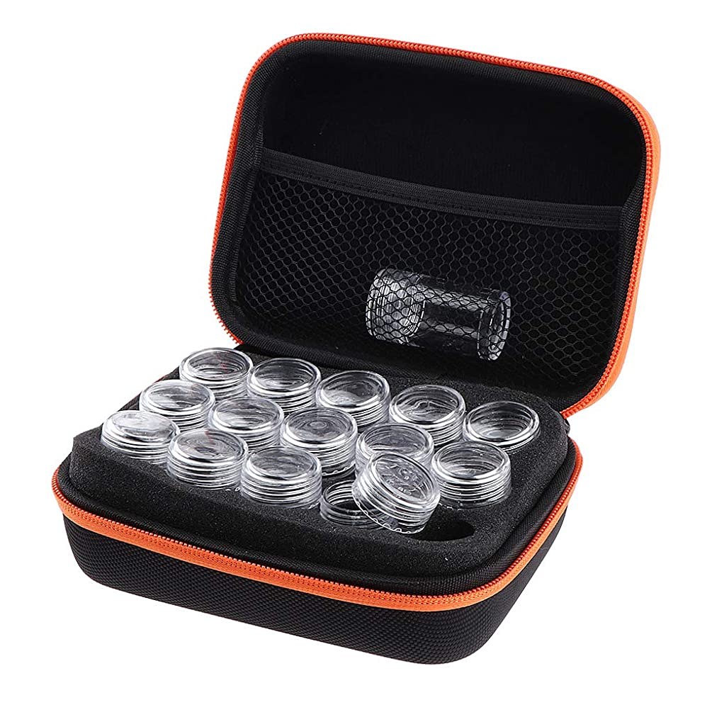 ジョグ台風冗談でアロマポーチ 15本用 エッセンシャルオイル ケース 携帯用メイクポーチ 精油ケース 香水収納バッグ - オレンジ