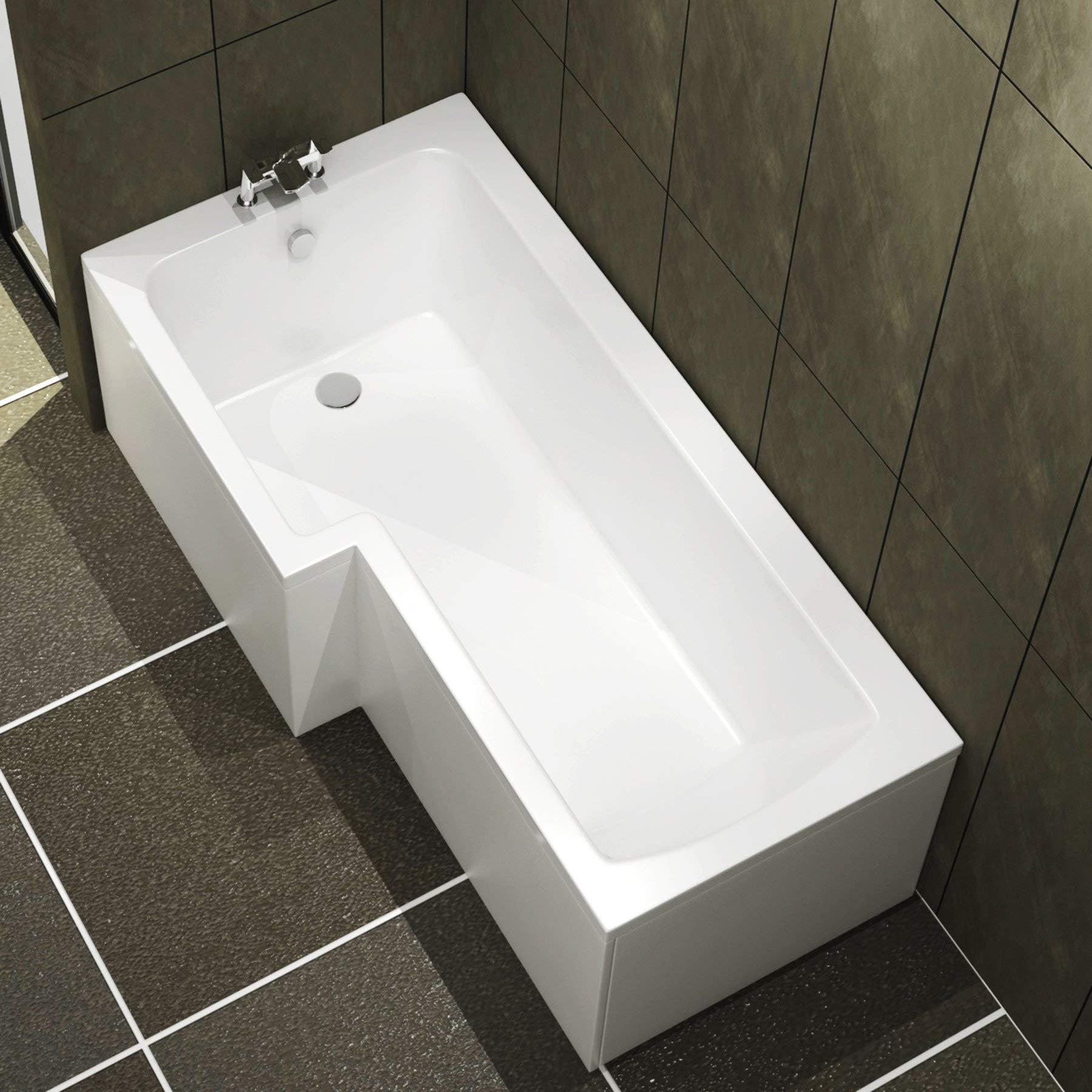 Qubix 1500 x 850mm Left Hand L-Shaped Shower Bath Bathtub with Front Panel Glass Shower Screen