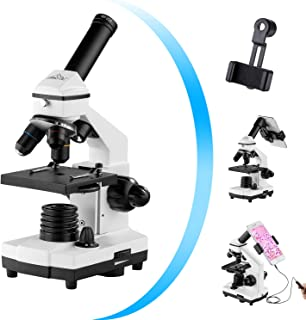 Monocular Microscope for Students and Kids, 200-2000x Magnification Powerful Biological Educational Microscopes with Operation Accessories(10p), Slides Set(15p), Phone Adapter, Wire Shutter & Backpack