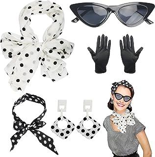 HAMOOM 5PCS 50s Fancy Dress Retro Accessories Set 50's Women Costume Accessories Kit Polka Dot Bandana Tie Headband Earrin...