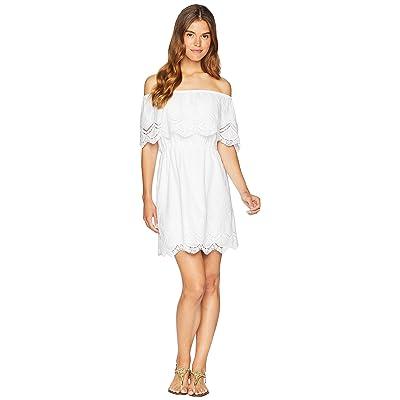 kensie Crochet Embroidered Cotton Dress KS6K920S (White) Women