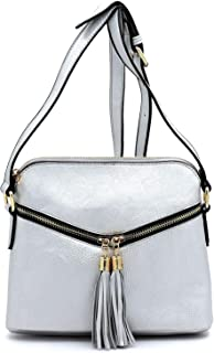 Vegan Faux Leather Double Tassels Accent Front Pocket Cross-body Bags