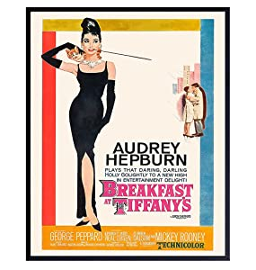 Audrey Hepburn Wall Art - Audrey Hepburn Poster - Breakfast at Tfffanys Poster - Mid Century Modern Decorations - Vintage Style Hollywood Movie Posters - Retro Wall Art Home Decor for Women - 8x10