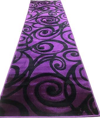 Contempo Modern Runner Area Rug Purple & Black Swirl Design 341 (2ftX7ft3in.)