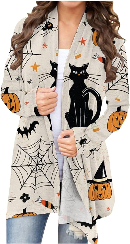 FABIURT Halloween Shirt Women,Women's Halloween Long Sleeve Open Front Cardigan Funny Cute Pumpkin Cat Jackets Coat