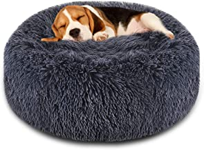 FOCUSPET Dog Bed Cat Bed Donut, Pet Bed Faux Fur Cuddler Round Comfortable Size 23''&30'' Ultra Soft Calming Bed for Dogs and Cats, Self Warming Indoor Snooze Sleeping Cushion Bed