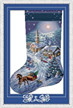 CaptainCrafts New Cross Stitch Kits Patterns Embroidery Kit - Christmas Stockings, Snow View (White)