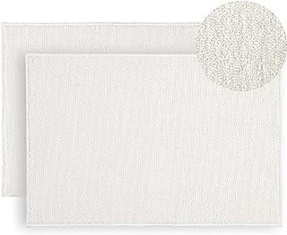 Lot de 2 tapis de bain 40 X 60 cm blanc Lavable en Machine paillasson salle bains douche antiderapant tapie sol Absorbant ...