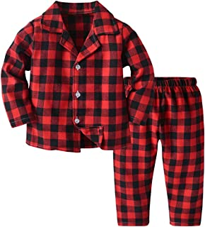 QZH.DUAO Kids Boy's Button Down Long Sleeve Plaid Pajamas Set